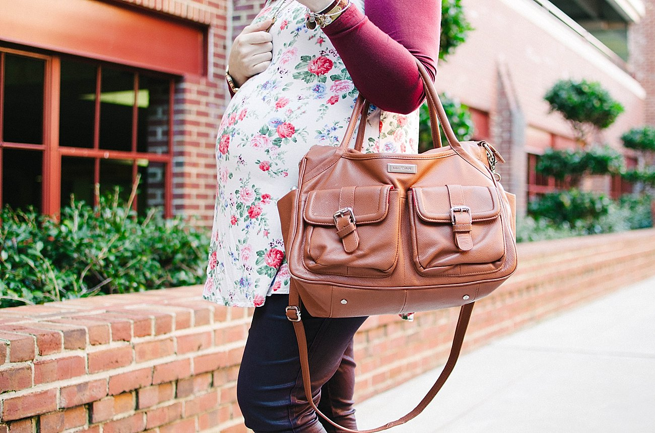 Pinkblush Maternity floral baseball style tunic, coated denim, Lily Jade bag - Maternity Style