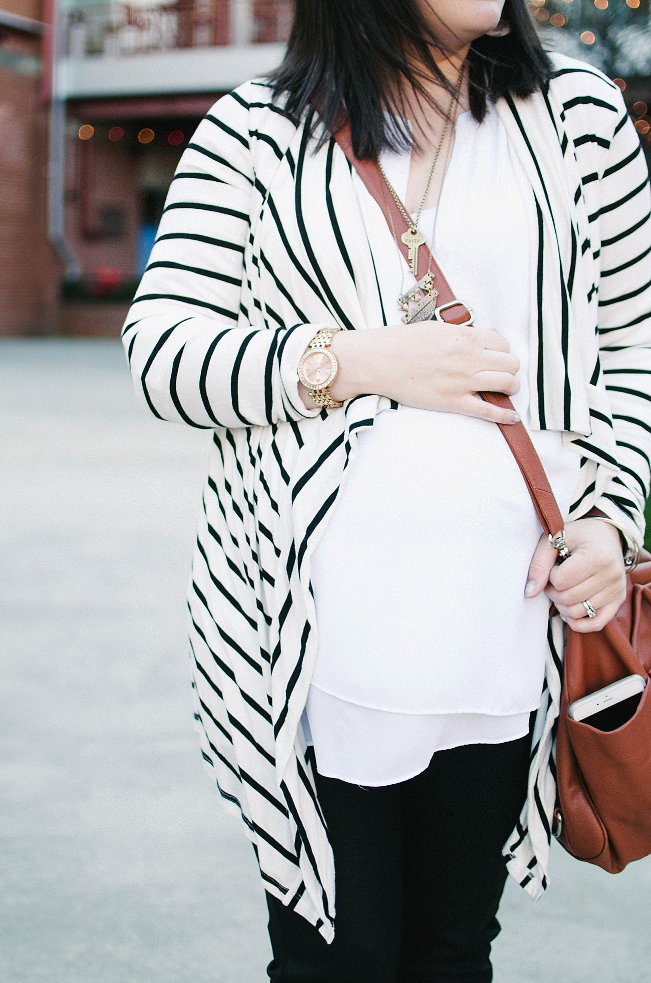 Pinkblush Maternity striped cardigan, James Jeans coated skinny jean, booties, Lily Jade diaper bag - Maternity Style