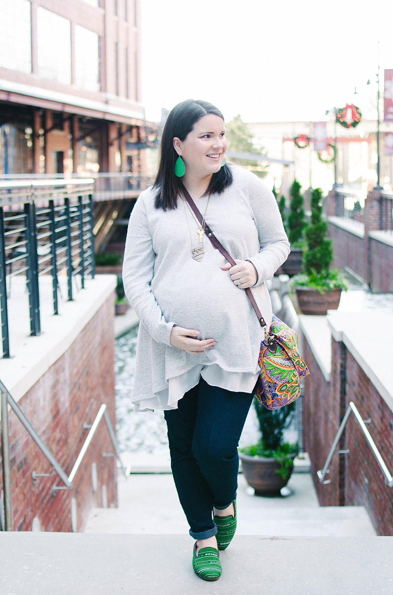 Pinkblush Maternity tunic and Nena & Co. loafers - Maternity style