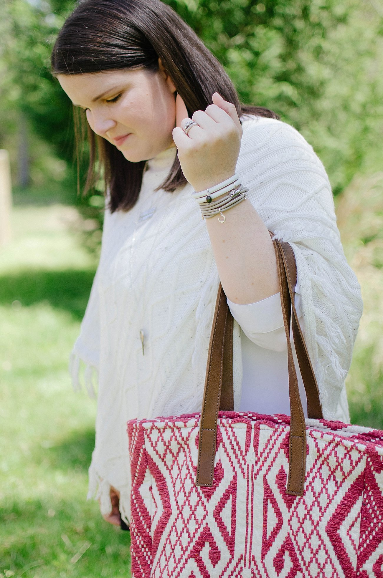 Grace & Lace poncho, Grace & Lace bag, Nickel and Suede earrings, The Root Collective Millie flats, Endless Jewelry bracelets, Wristology Watch | Casual Style - North Carolina Fashion Blogger (6)