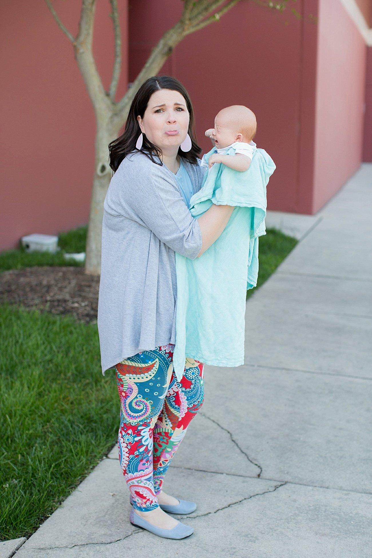LulaRoe Lindsay Kimono in Grey, Lularoe Irma tunic, Paisley printed LulaRoe leggings, The Root Collective Gaby Ballet Flat, Nickel and Suede Earrings | Mom Style | North Carolina Fashion & Style Blogger (11)