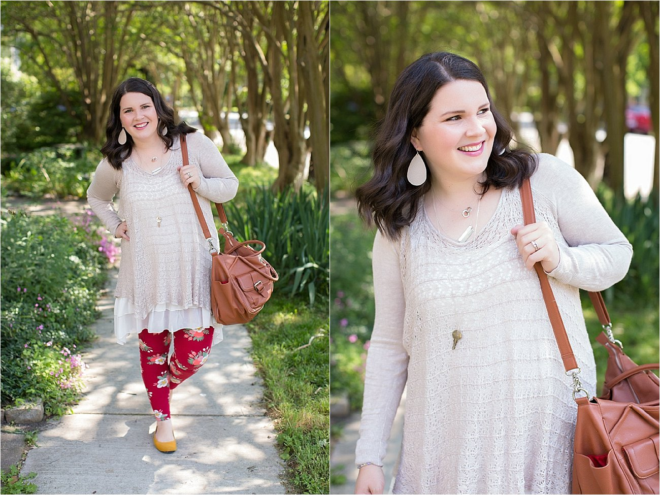Grace & Lace two fit knit cardigan, lace extender, LulaRoe floral leggings, The Root Collective ballet flats | Ethical Fashion & Style Blogger (8)