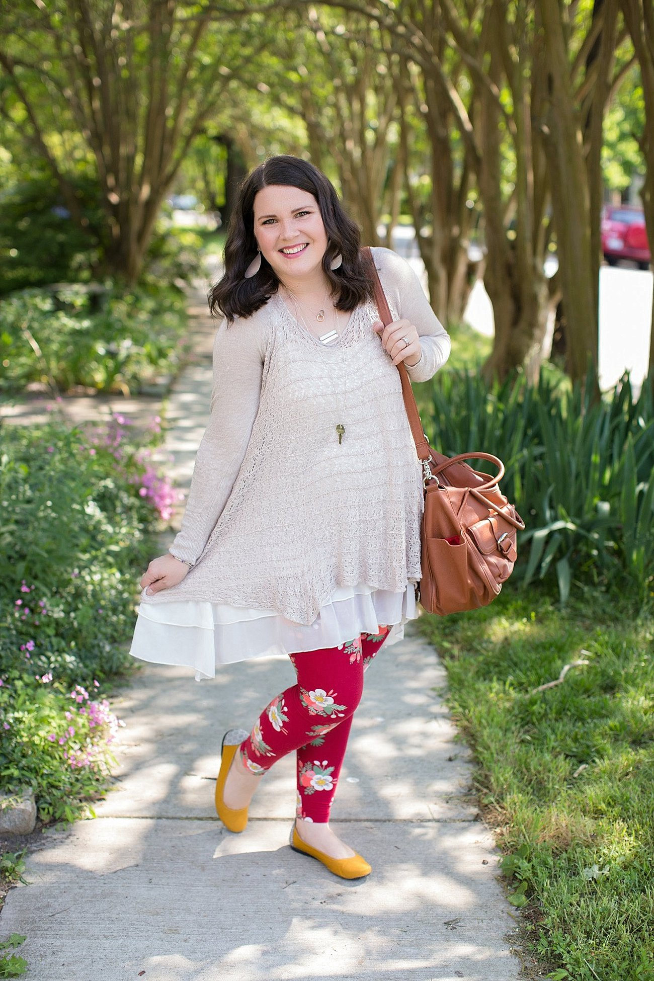 Grace & Lace two fit knit cardigan, lace extender, LulaRoe floral leggings, The Root Collective ballet flats | Ethical Fashion & Style Blogger (10)