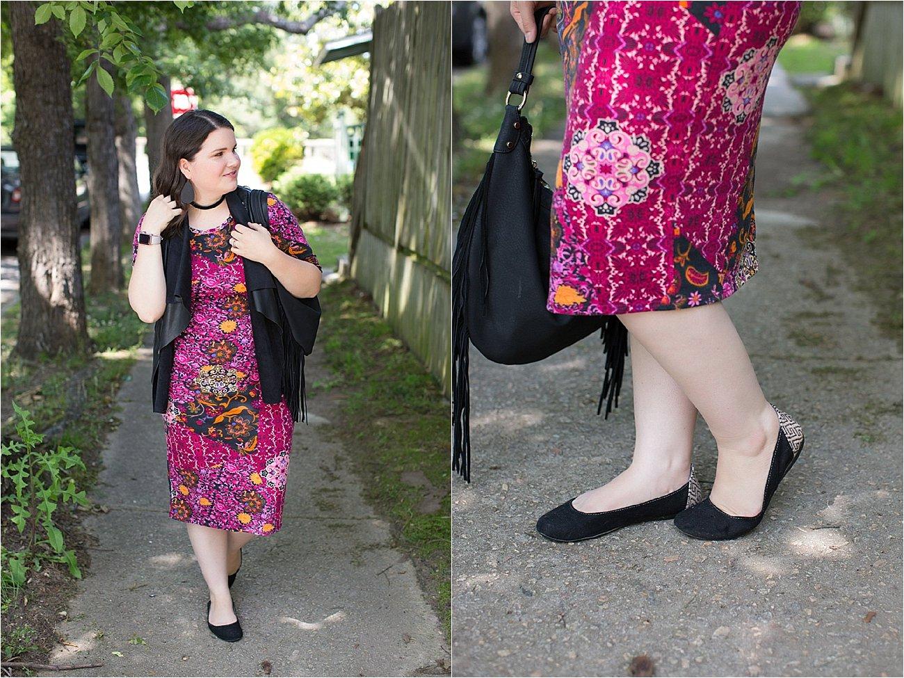LulaRoe Julia Dress, Stitch Fix Kut From the Kloth Leather Vest, Nickel & Suede Earrings, Nickel & Suede Choker   North Carolina Fashion & Style Blogger (4)