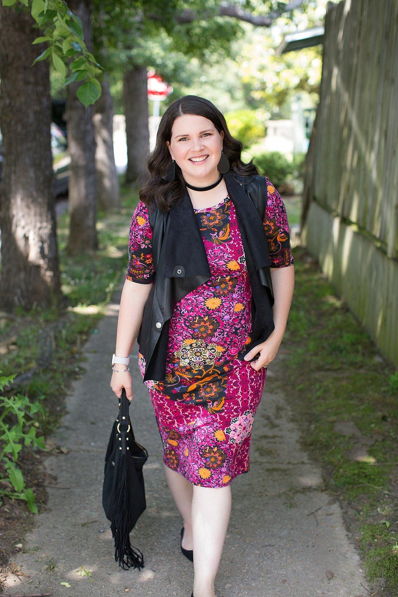 LulaRoe Julia Dress, Stitch Fix Kut From the Kloth Leather Vest, Nickel & Suede Earrings, Nickel & Suede Choker   North Carolina Fashion & Style Blogger (5)