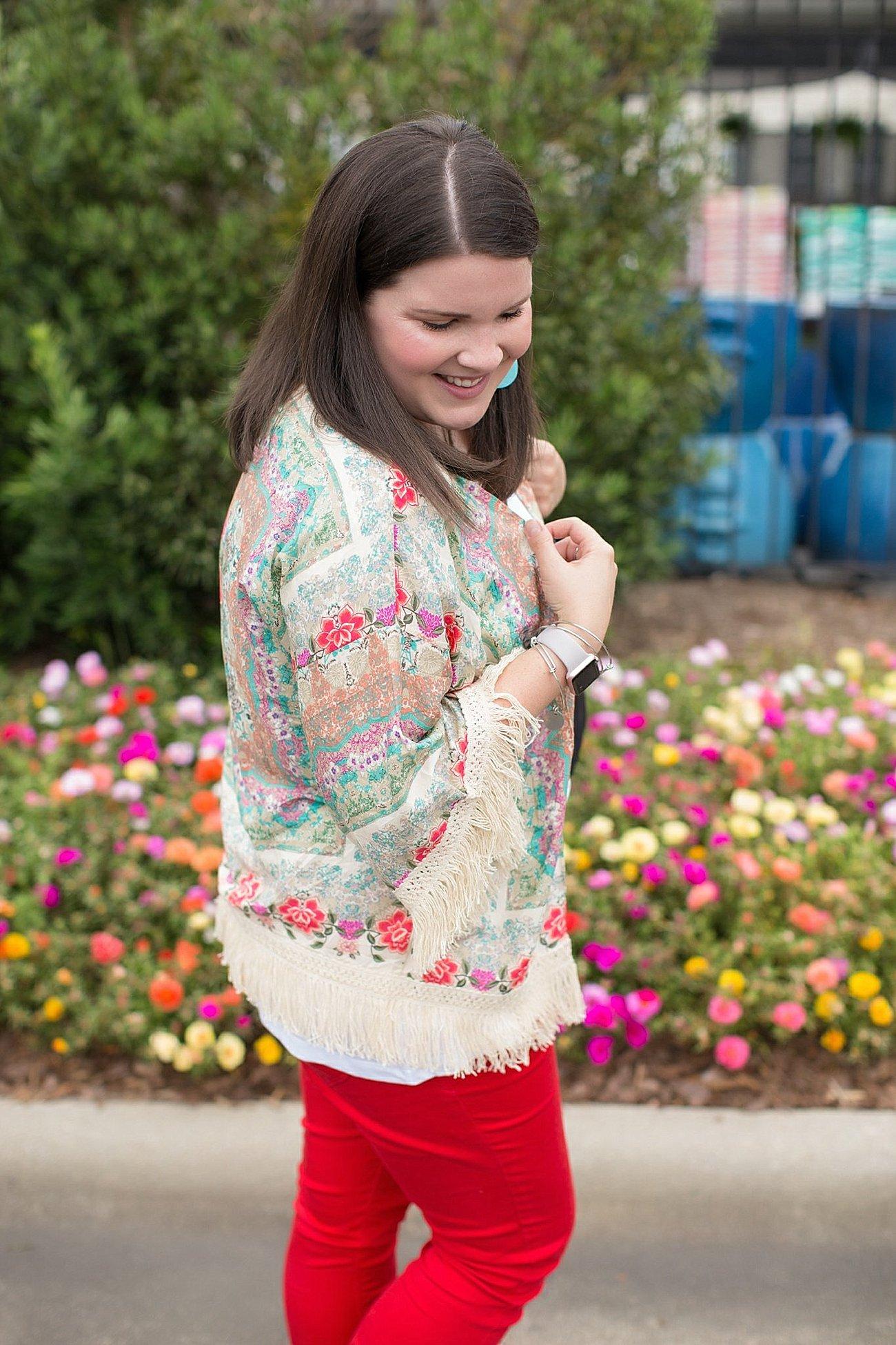 "Grace & Lace kimono, PACT apparel v-neck tee, Stitch Fix ""Kensie"" red jeans, Lily Jade diaper bag | North Carolina Fashion Blogger (3)"