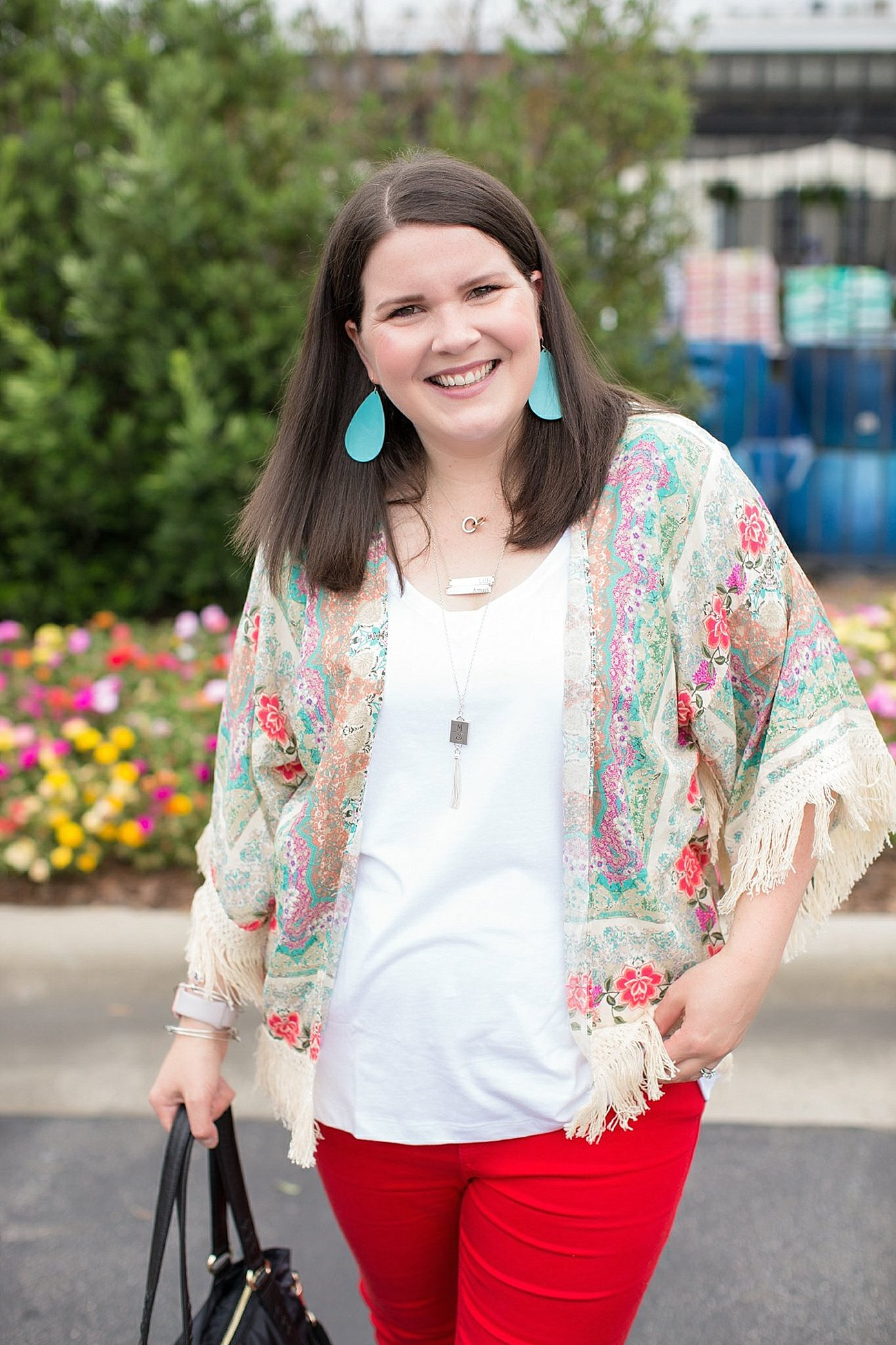 "Grace & Lace kimono, PACT apparel v-neck tee, Stitch Fix ""Kensie"" red jeans, Lily Jade diaper bag 