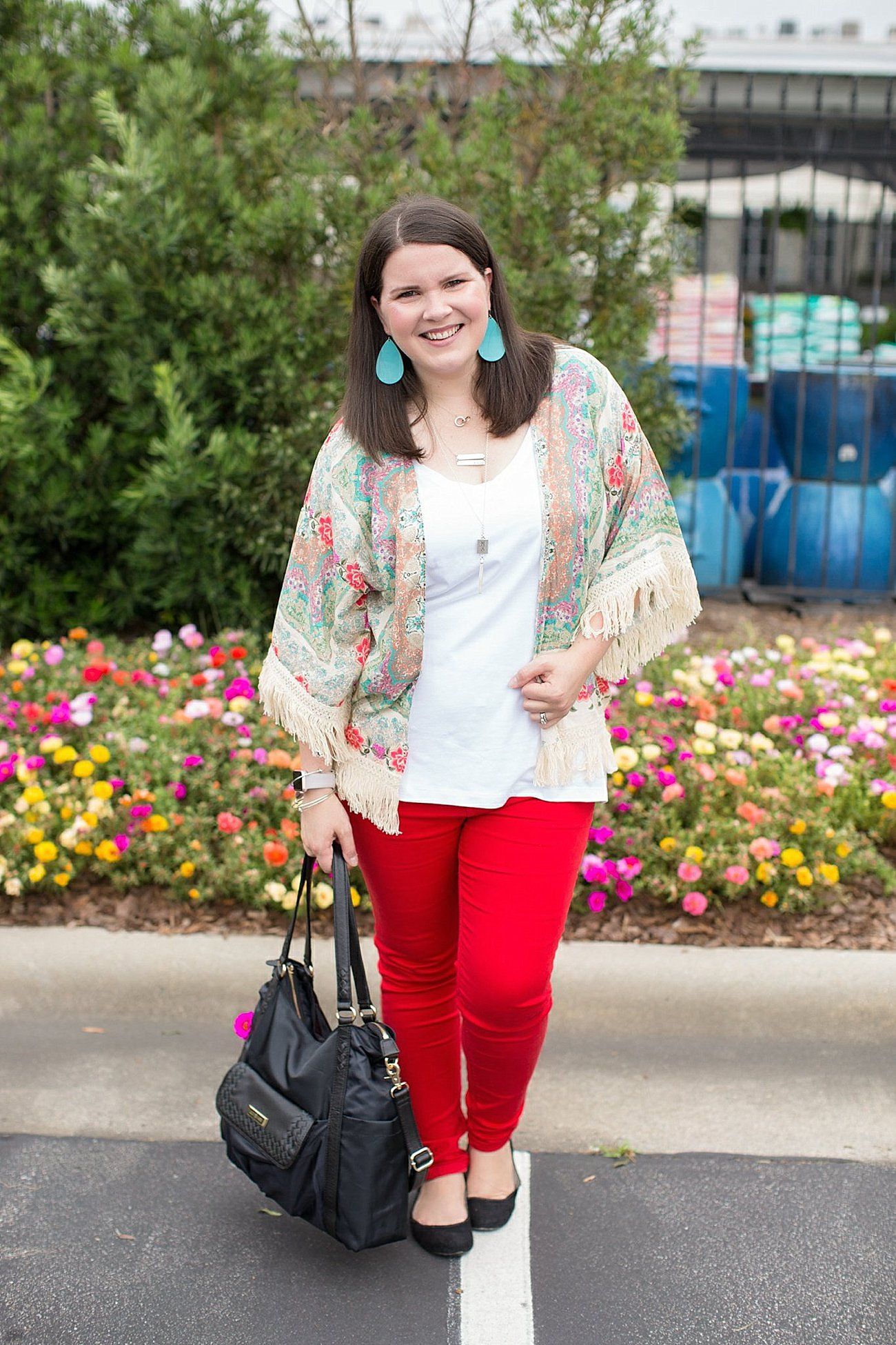 "Grace & Lace kimono, PACT apparel v-neck tee, Stitch Fix ""Kensie"" red jeans, Lily Jade diaper bag | North Carolina Fashion Blogger (10)"
