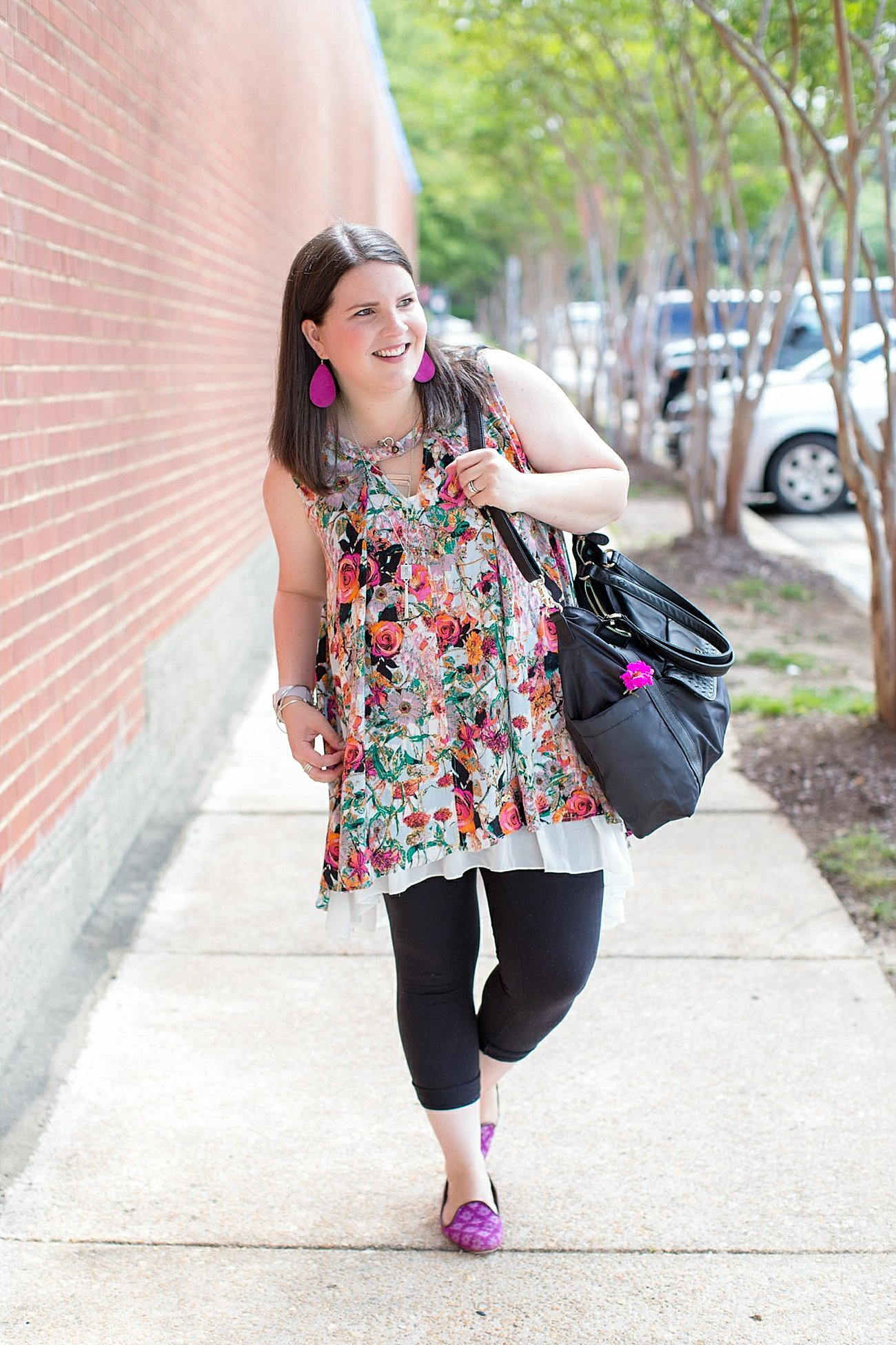 """Grace & Lace floral tunic, chiffon lace extender, LulaRoe black leggings, Lily Jade diaper bag, Nickel and Suede earrings, The Root Collective """"Millie"""" smoking shoes   North Carolina Fashion Blogger (2)"""