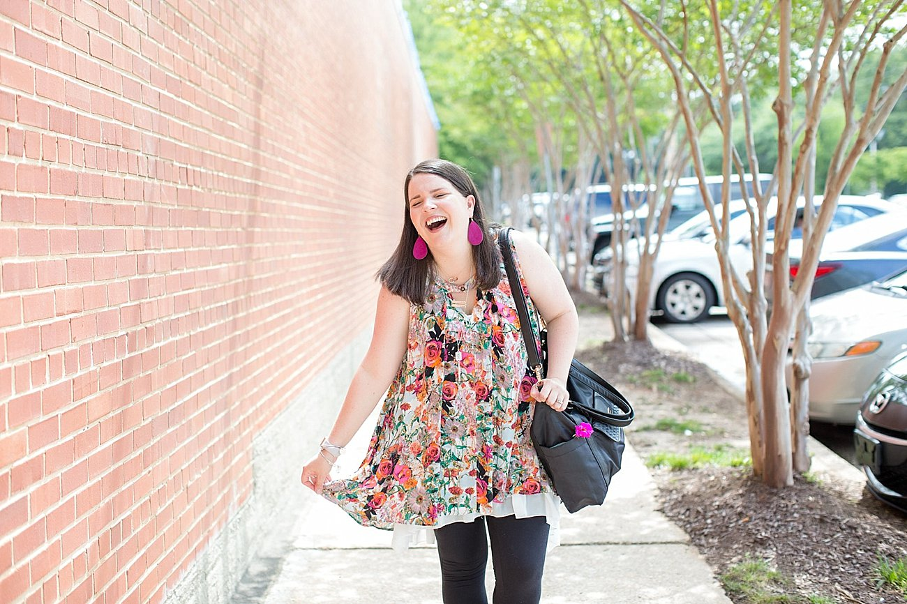"""Grace & Lace floral tunic, chiffon lace extender, LulaRoe black leggings, Lily Jade diaper bag, Nickel and Suede earrings, The Root Collective """"Millie"""" smoking shoes   North Carolina Fashion Blogger (3)"""