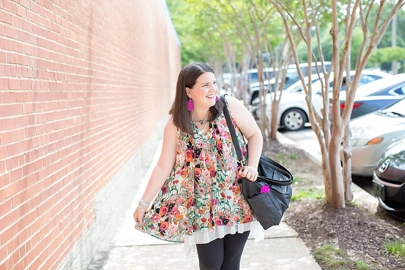 """Grace & Lace floral tunic, chiffon lace extender, LulaRoe black leggings, Lily Jade diaper bag, Nickel and Suede earrings, The Root Collective """"Millie"""" smoking shoes   North Carolina Fashion Blogger (7)"""