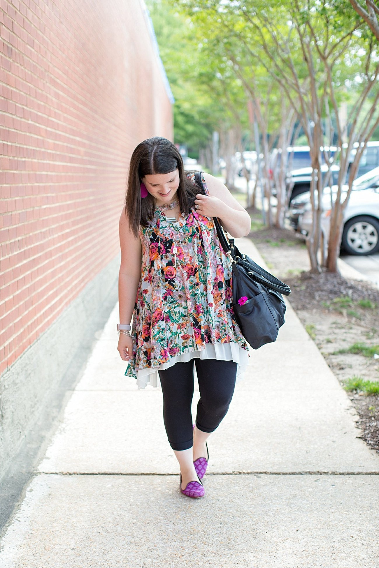 """Grace & Lace floral tunic, chiffon lace extender, LulaRoe black leggings, Lily Jade diaper bag, Nickel and Suede earrings, The Root Collective """"Millie"""" smoking shoes   North Carolina Fashion Blogger (8)"""