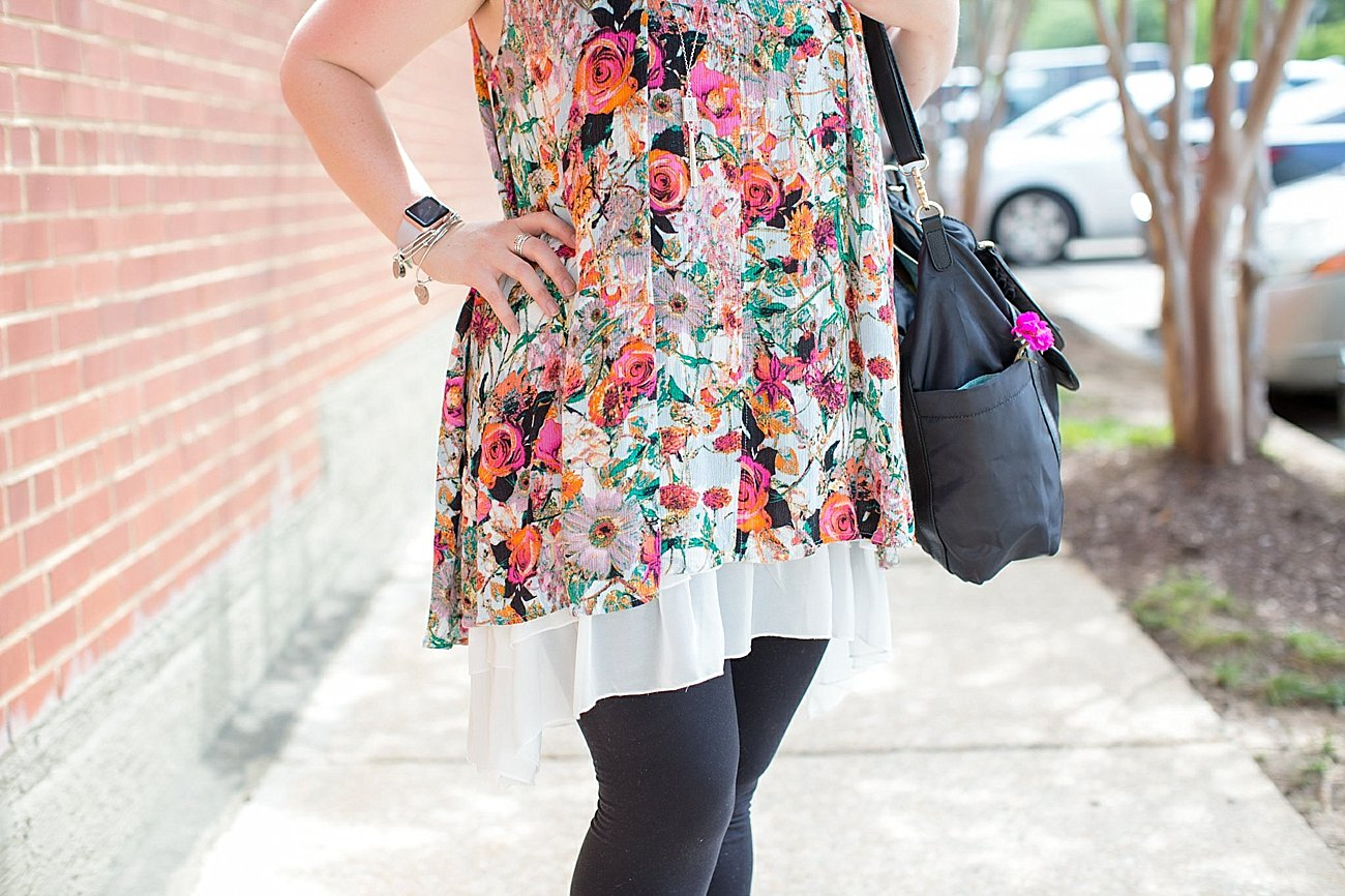 """Grace & Lace floral tunic, chiffon lace extender, LulaRoe black leggings, Lily Jade diaper bag, Nickel and Suede earrings, The Root Collective """"Millie"""" smoking shoes   North Carolina Fashion Blogger (10)"""
