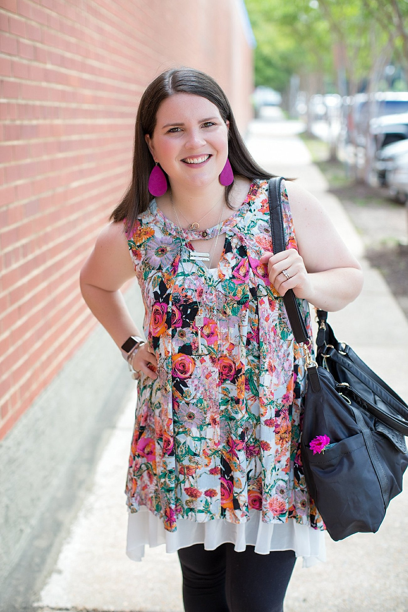 "Grace & Lace floral tunic, chiffon lace extender, LulaRoe black leggings, Lily Jade diaper bag, Nickel and Suede earrings, The Root Collective ""Millie"" smoking shoes 