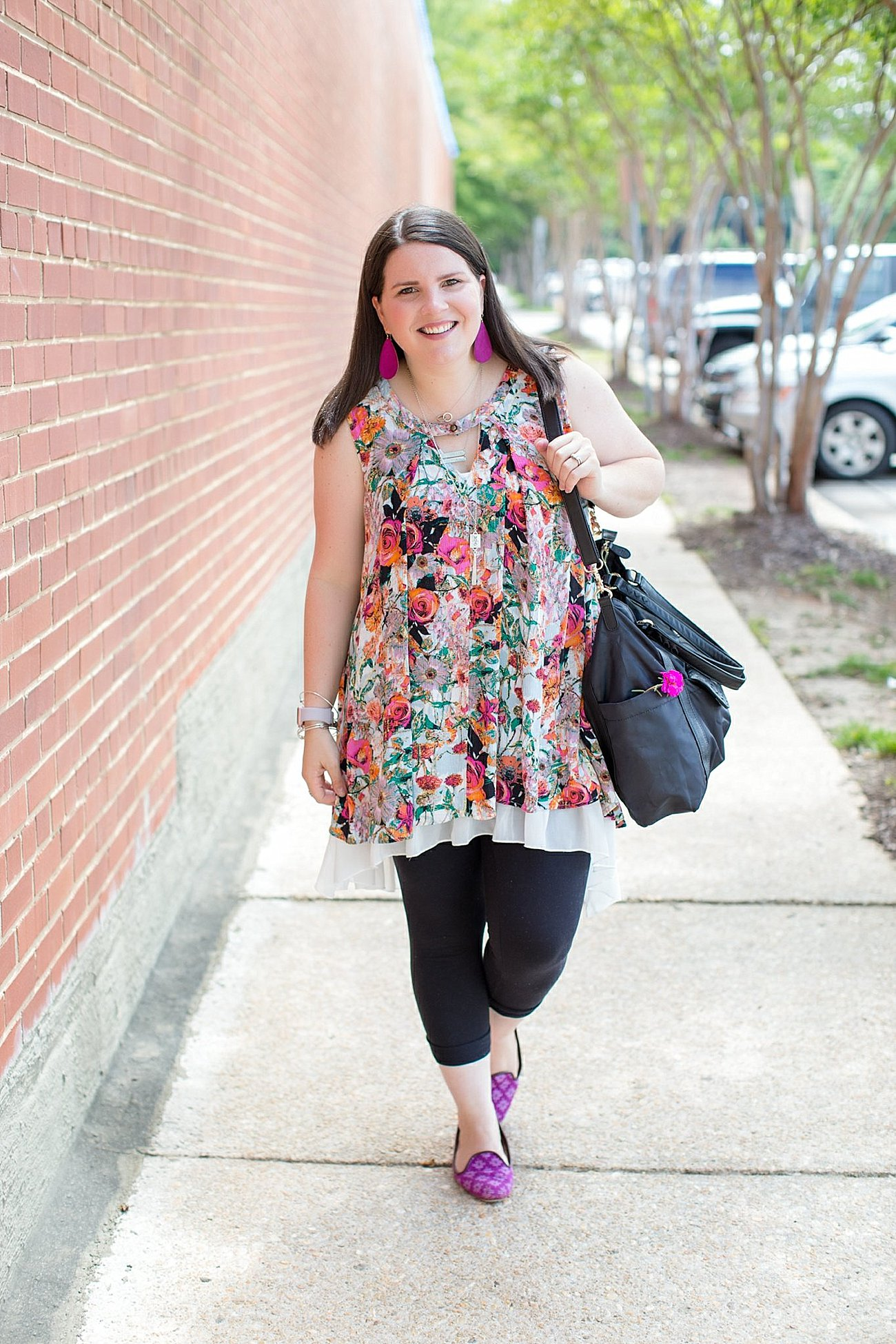 """Grace & Lace floral tunic, chiffon lace extender, LulaRoe black leggings, Lily Jade diaper bag, Nickel and Suede earrings, The Root Collective """"Millie"""" smoking shoes   North Carolina Fashion Blogger (12)"""