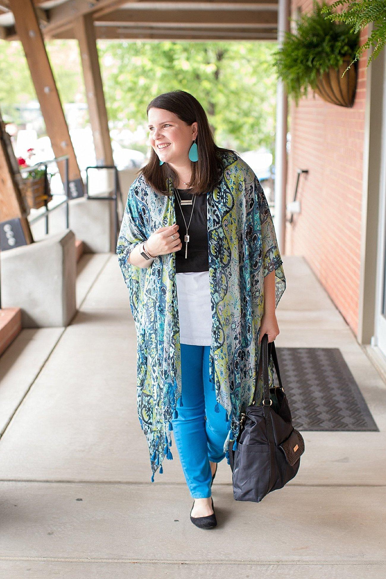 "Threads 4 Thought ruana, Elegantees ""Riley"" tee, Margaret M Stitch Fix jeans, Lily Jade diaper bag   North Carolina Fashion Blogger (1)"