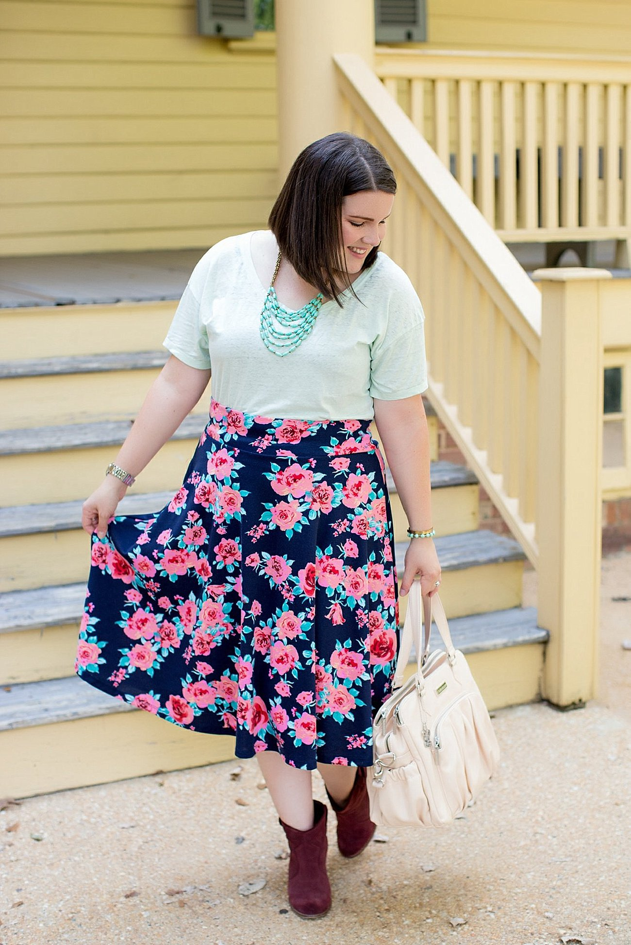 Threads for Thought tee, Agnes & Dora floral midi skirt, Booties, Kalencom diaper bag (3)