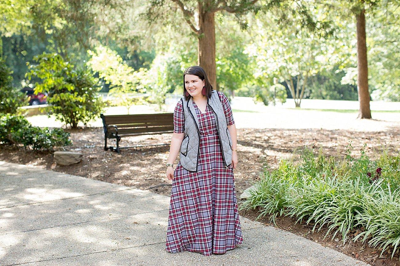 Agnes & Dora plaid Austen dress, herringbone vest, fall fashion, ethical fall fashion | North Carolina life and style blogger (1)
