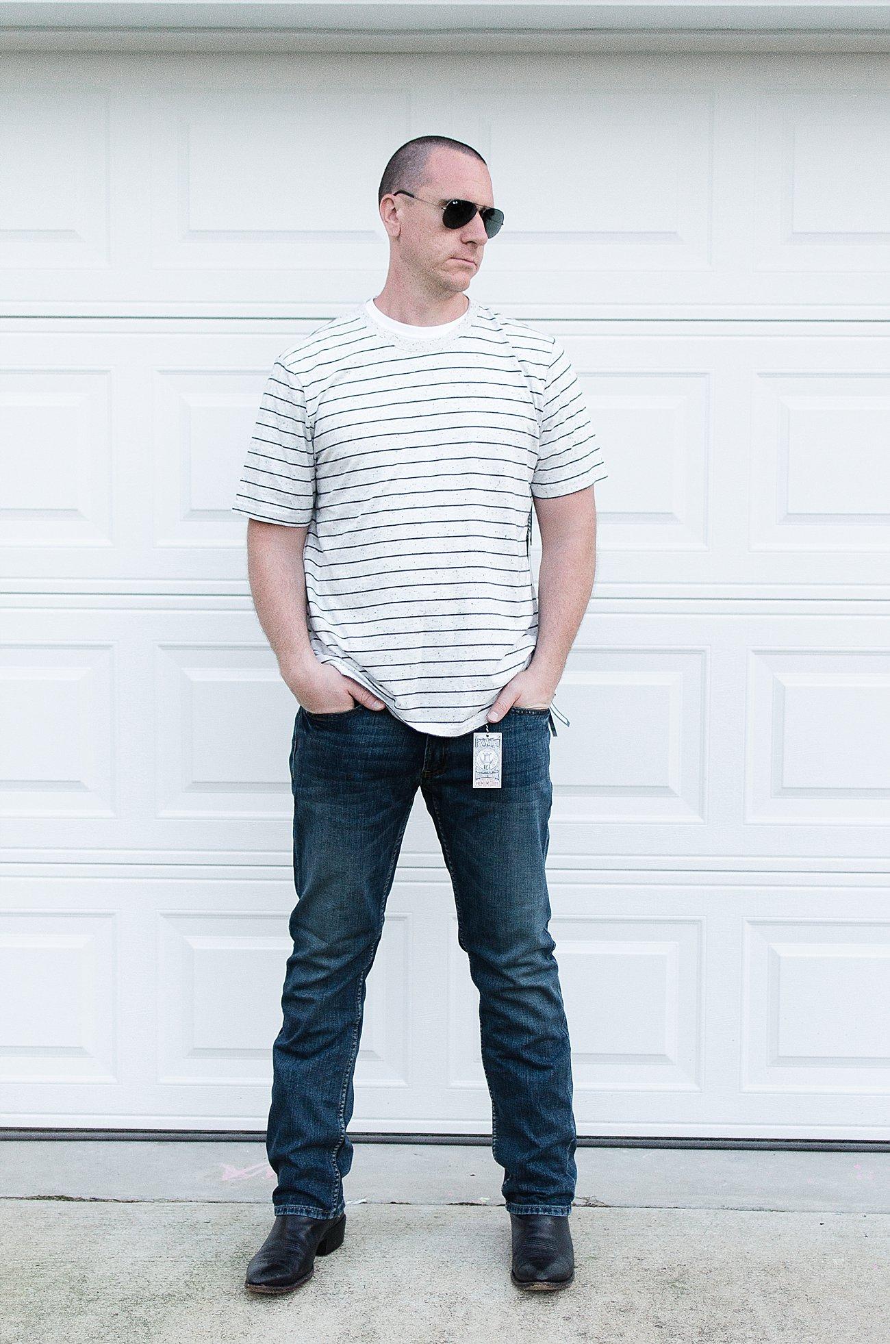 """Stitch Fix Men Review   Flag & Anthem """"Westport Textured Stripe Tee"""" and Flag & Anthem """"Erie Jean"""""""