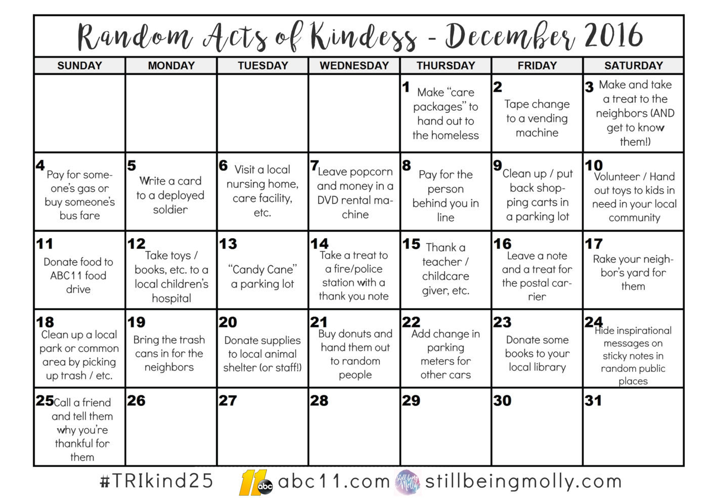 The 2nd Annual 25 Acts of Random Christmas Kindness 2016 - #triKind25 (5)