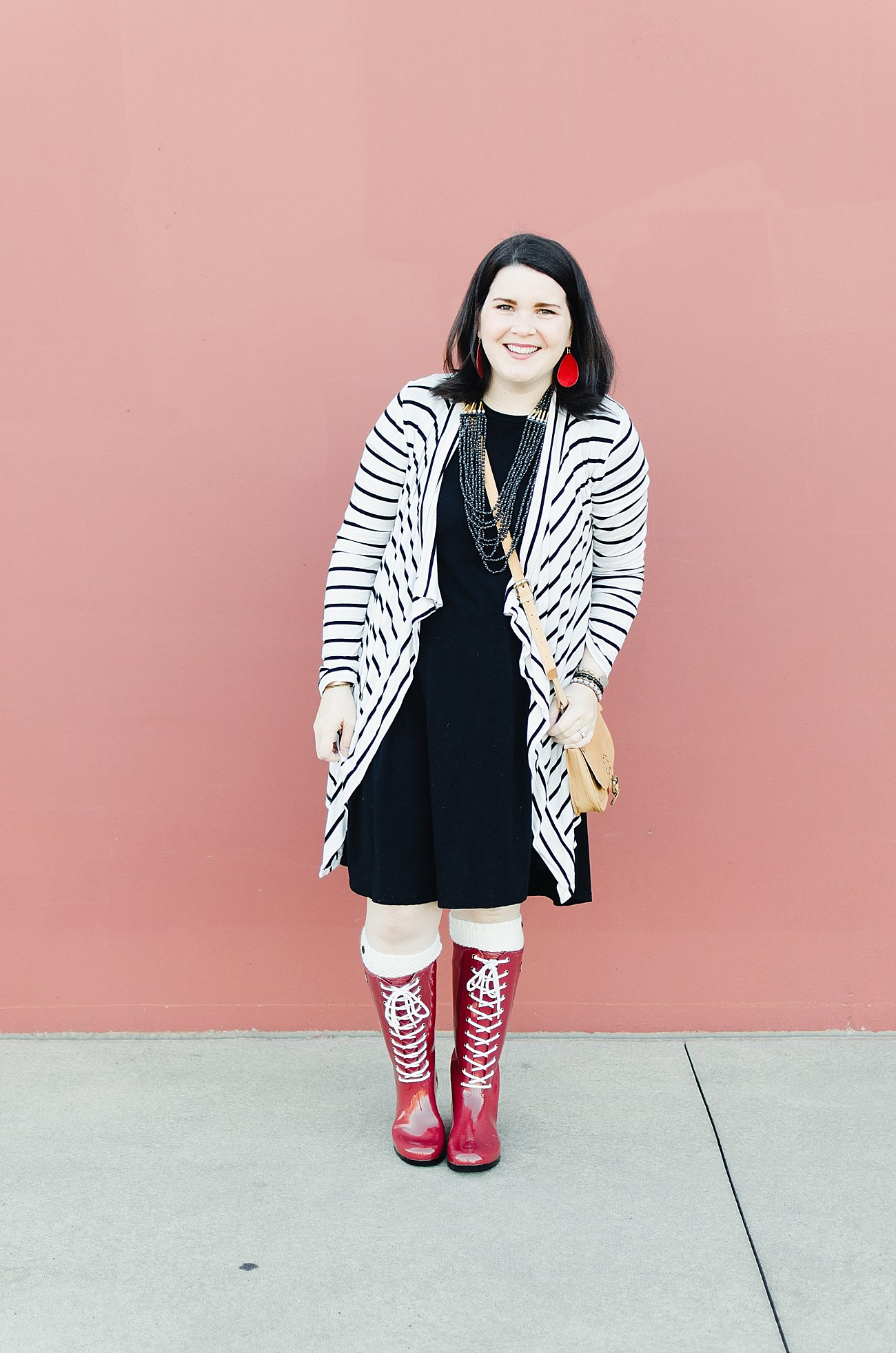 Roma Boots, LulaRoe Carly dress, Pinkblush Cardigan, Nickel and Suede Earrings, Noonday Collection exploration bag, Noonday Collection midnight necklace (2)