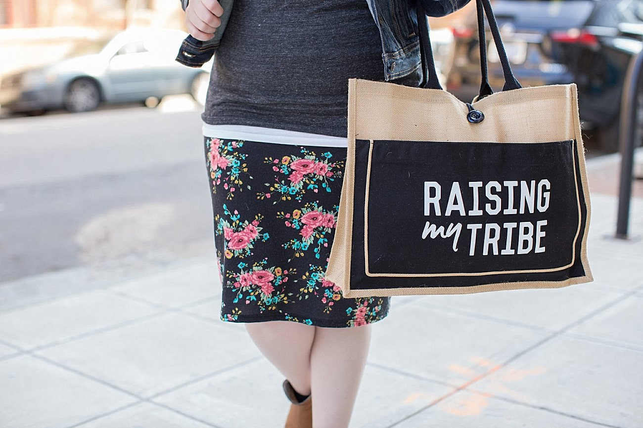 Raise them Kind graphic tee, Agnes & Dora pencil skirt, Denim jacket, Root Collective espe booties, Raising My Tribe beach tote by Little Adi Co. - mommy and me - ethical lifestyle blogger (1)