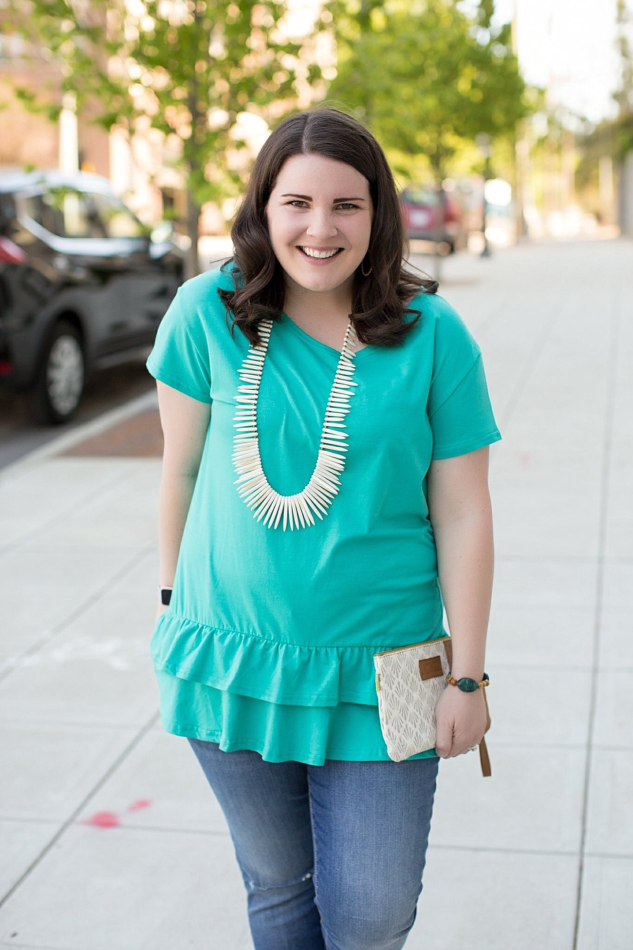 How to Style the Abbi Double Ruffle Hem Top from Elegantees by ethical fashion blogger Still Being Molly