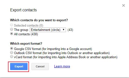click on export to move google contacts