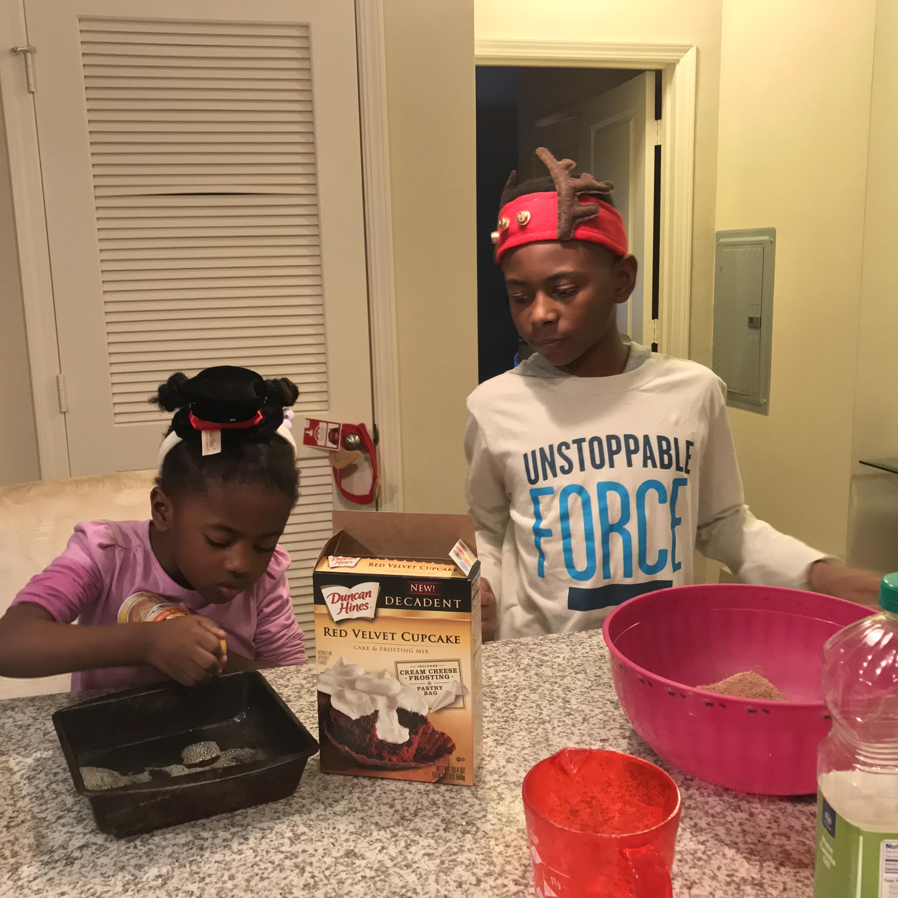 The kids baking and making memories