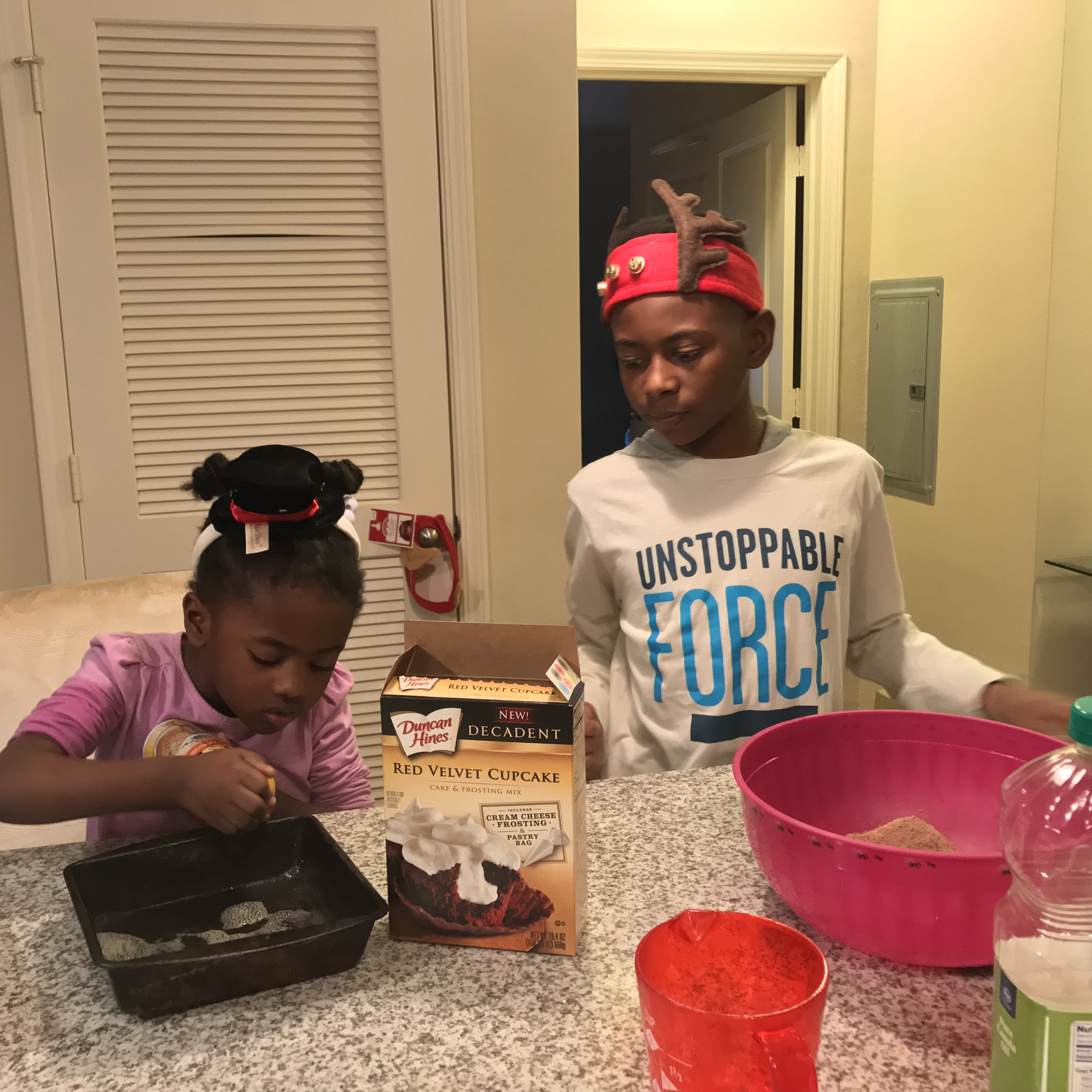 The kids baking and making memories