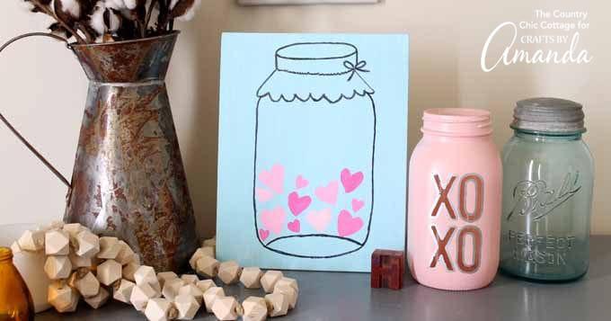 Mason Jar Valentine's Day Art: easy and cute Valentine's Day art!