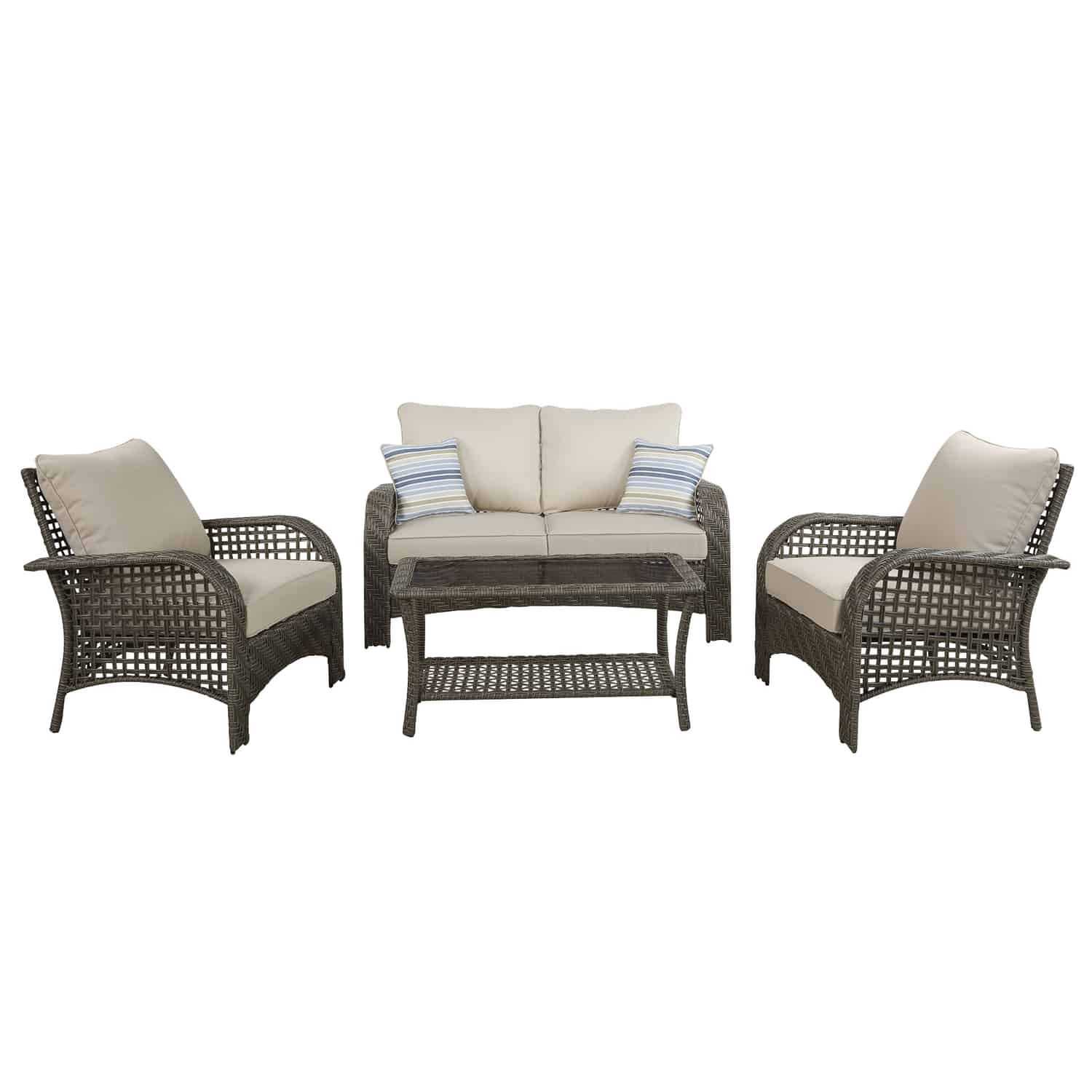 living accents willow 4 pc gray wicker deep seating patio set beige wicker