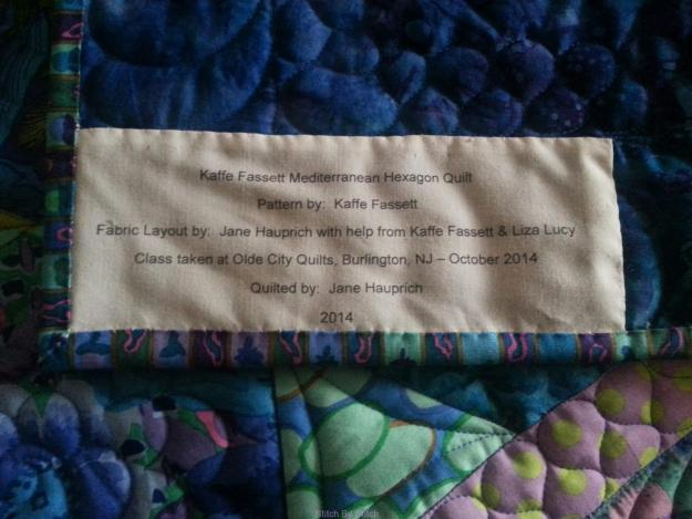 Label on my quilt