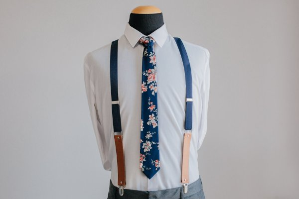 Navy and Coral Floral Tie
