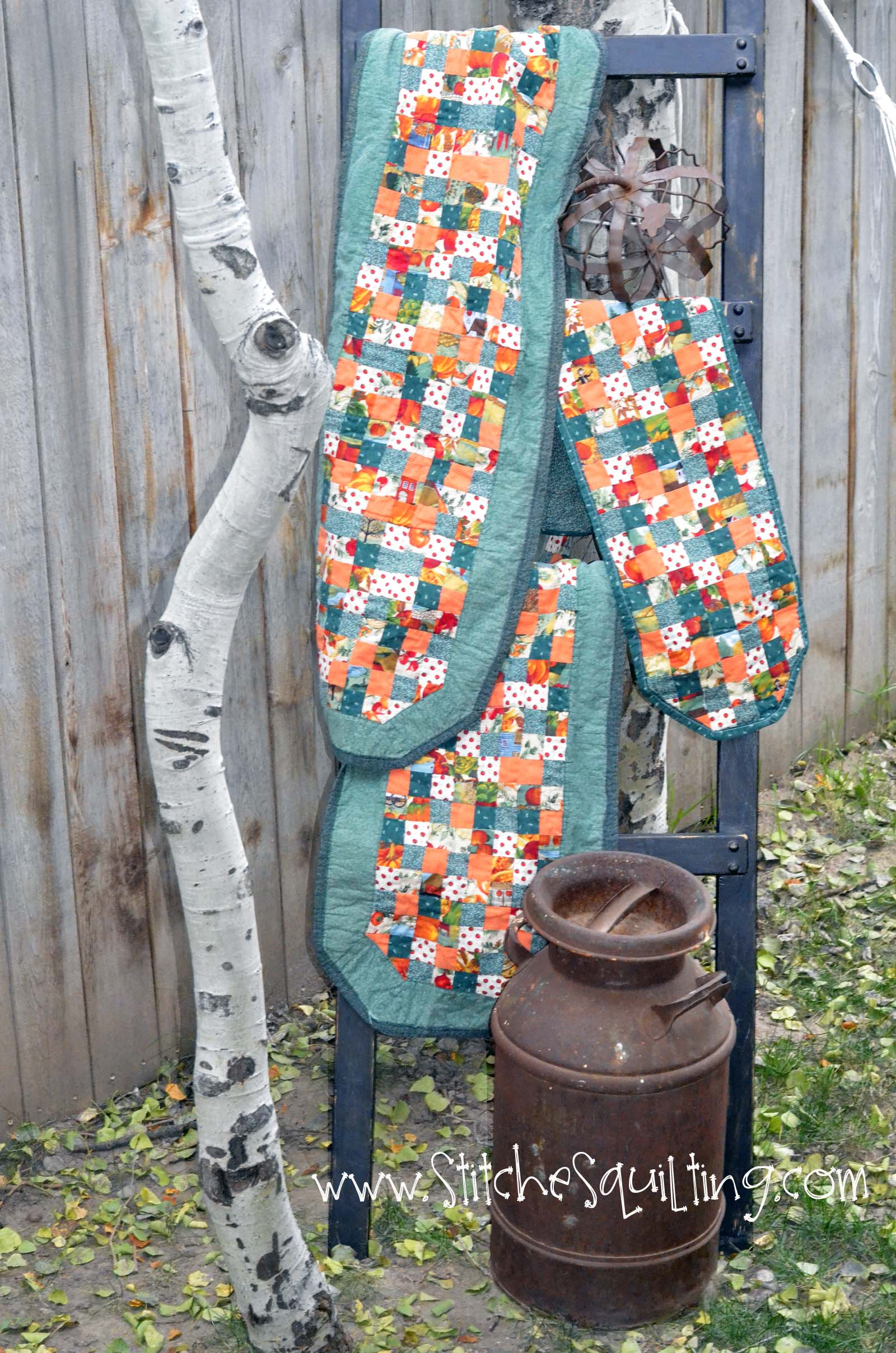 Easy Fast Fall Table Runner to make fast and use those scraps