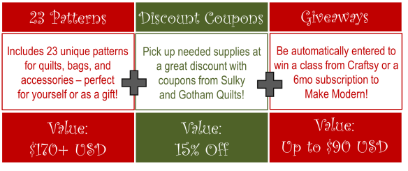 Christmas Pattern Bundle Sale includes 15% discount to Sulky and Gotham Quilts!!!