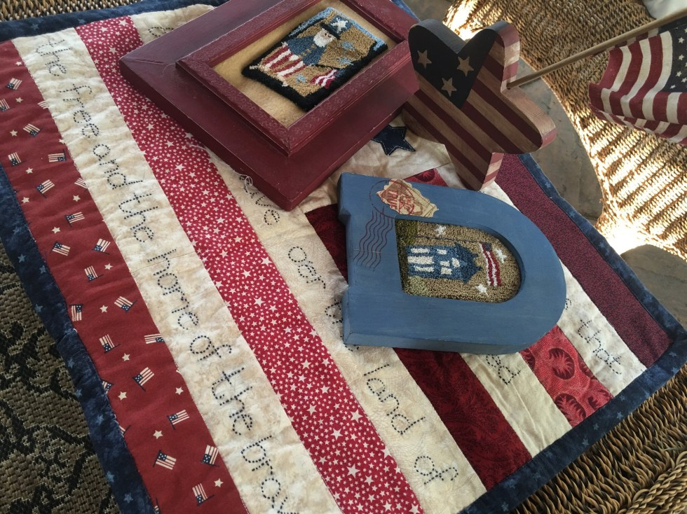 Small America Flag Quilt National Anthem Star Spangled Banner Americana Need Punch Framed Art