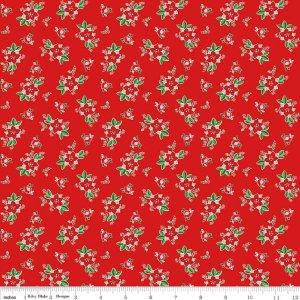 Pixie Noel Red Floral Fabric C5254 Riley Blake by Tasha Noel