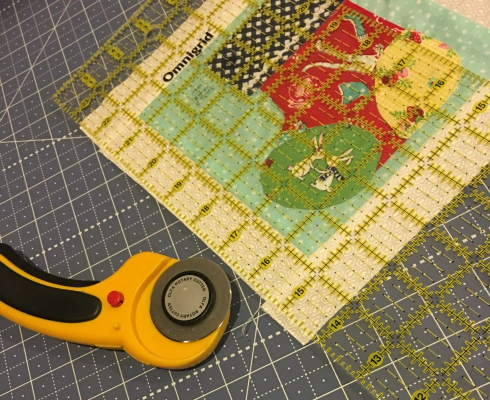 Squaring up your quilt block after adding sashing