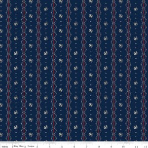 Americana C4774 Navy Stripe Floral Penny Rose Fabrics