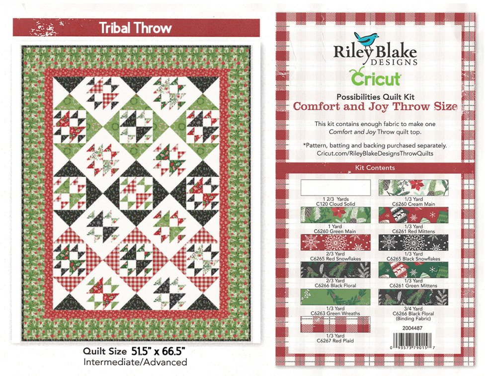 Cricut Riley Blake Possibilities Quilt Kit Comfort & Joy Tribal Throw Quilt