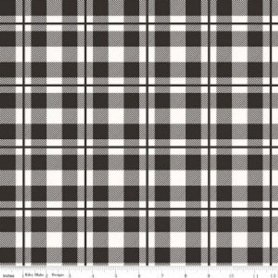 Black White Classic Plaid Fabric C6555 Riley Blake Designs Yes, Please designed by Jen Allyson