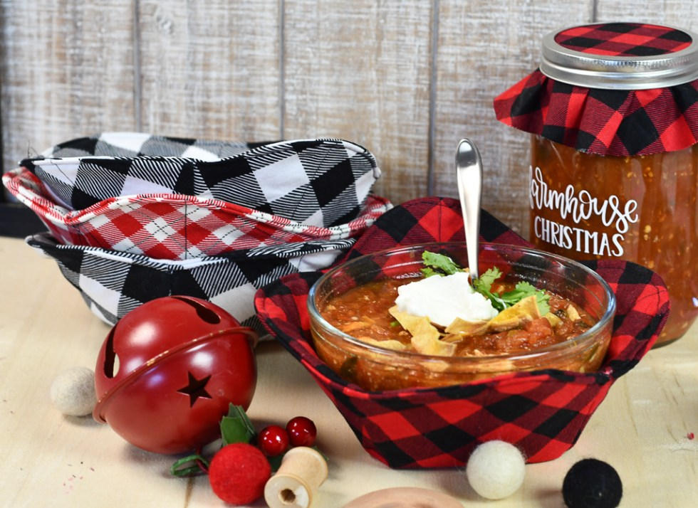 Cricut Maker Buffalo Plaid Rounded Soup Cozies