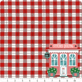 Red White Plaid C6267 Fabric Comfort and Joy