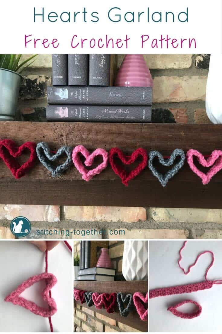 Crochet heart garland free pattern stitching together get ready for valentines day with this adorable crochet heart garland perfect quick and easy bankloansurffo Choice Image