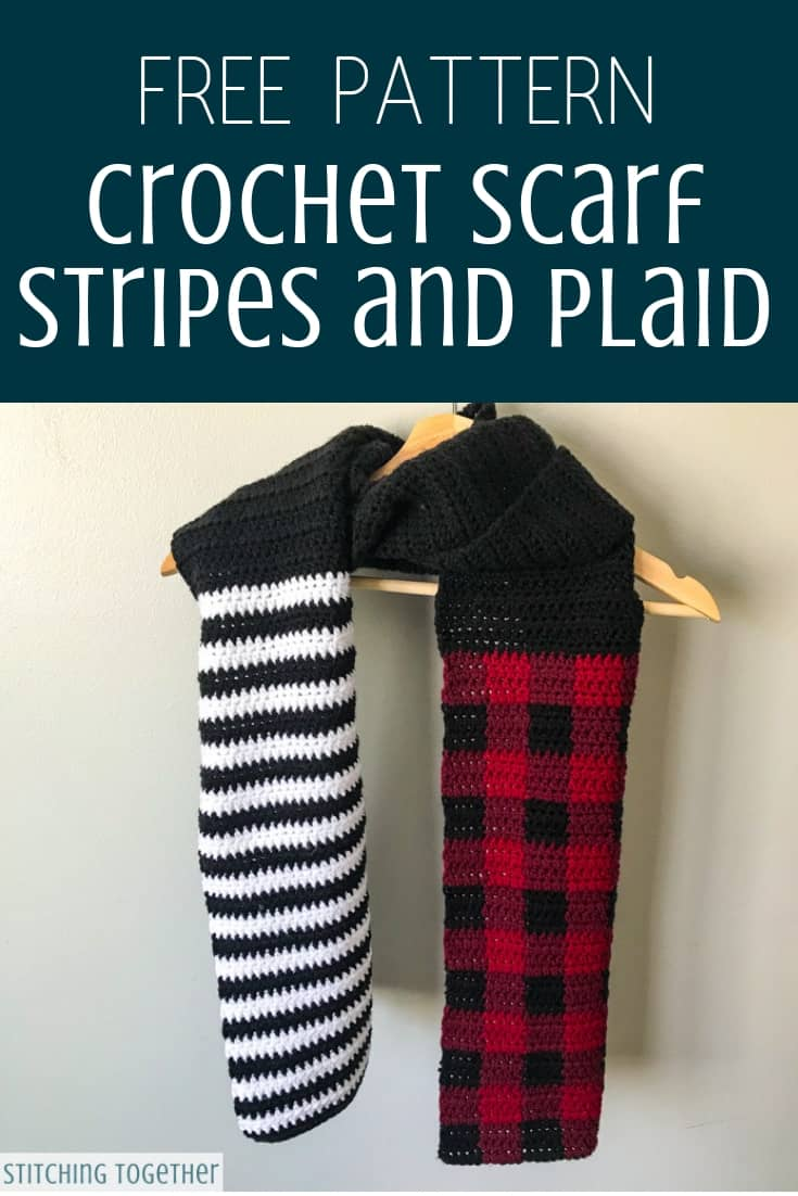 Stripes And Plaid Crochet Scarf Pattern Stitching Together