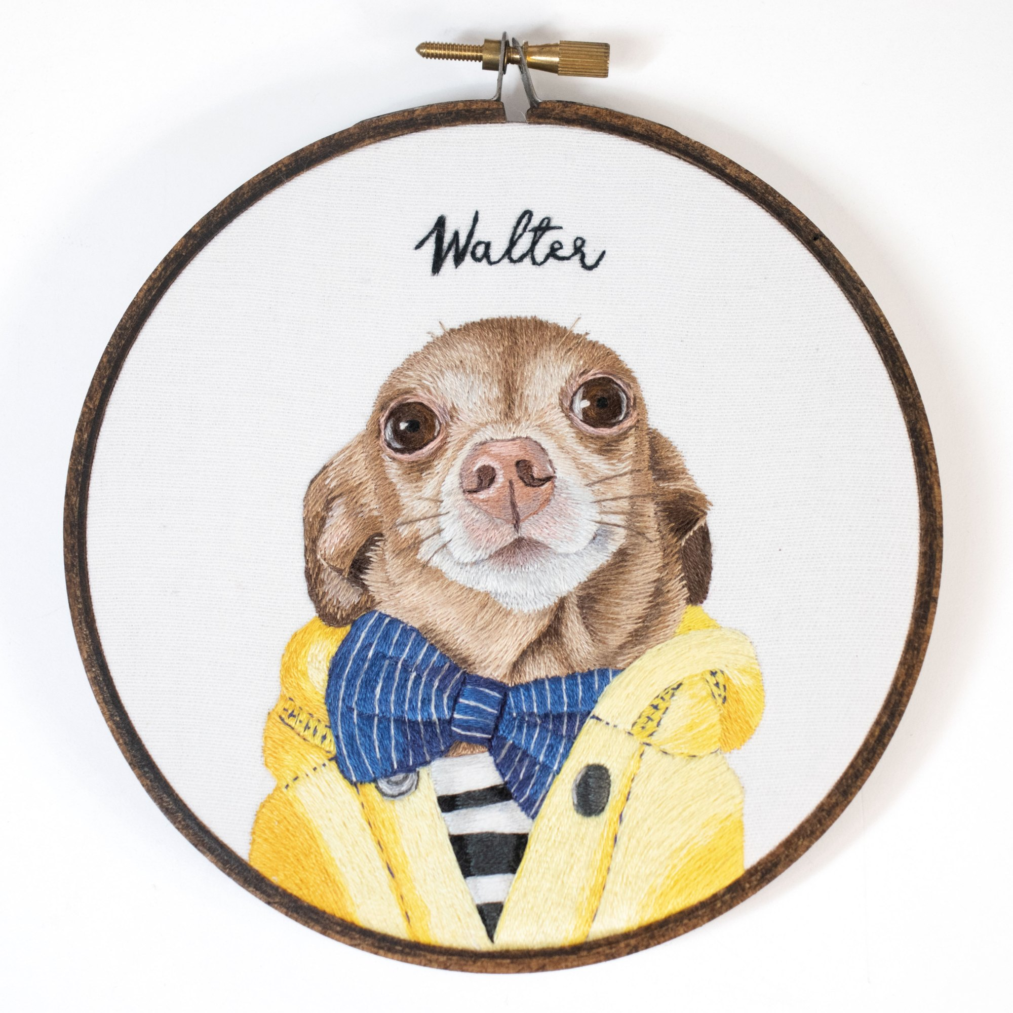 Michelle Staub Stitching Sabbatical hand embroidery portrait of embroidered dog