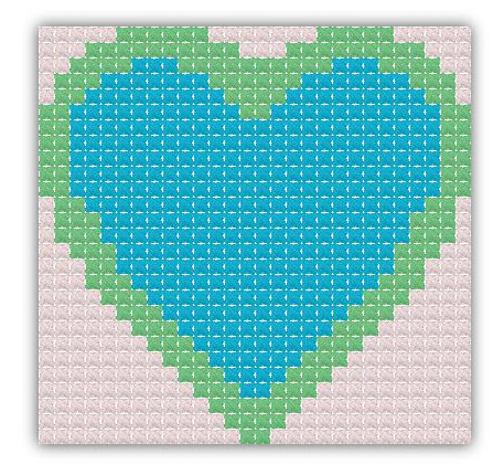 tiny heart free cross stitch pattern