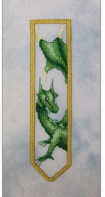 Dracolair's Green Dragon Bookmark Cross Stitch Pattern