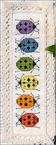 Rainbow Ladybugs Cross Stitch Bookmark